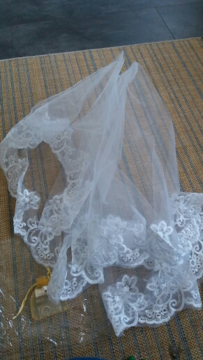 Sapphire Bridal Veil Wedding Accessories White Ivory One-Layer Short Bridal Veils Lace Edge Bridal No comb Wedding Veil