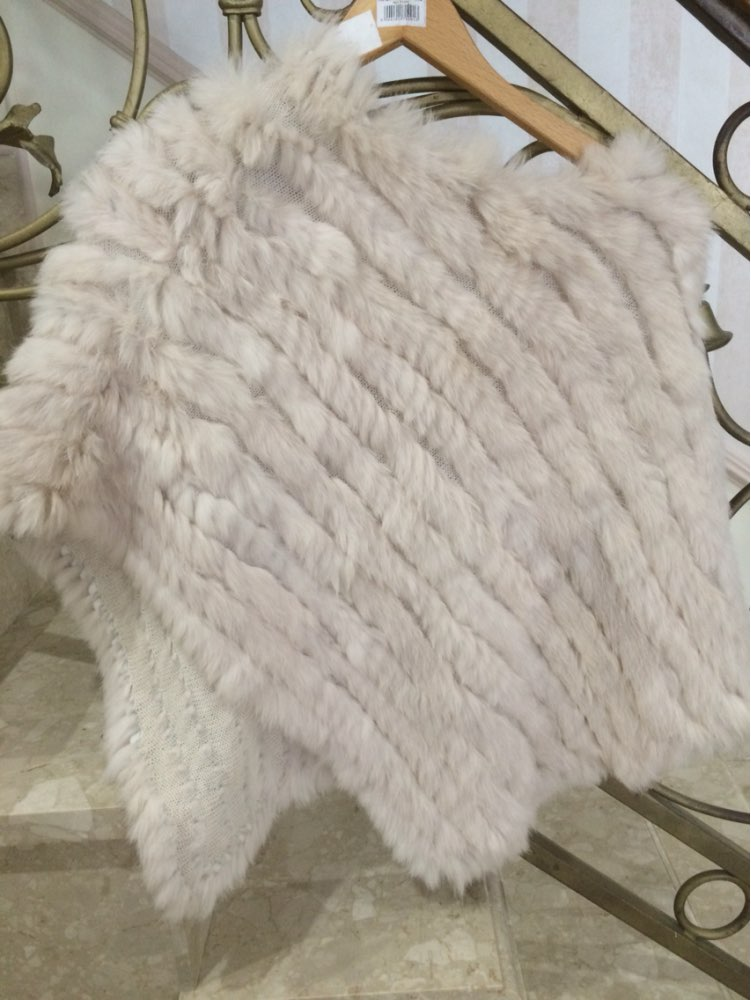Fur Poncho  2016 Autumn Real Rabbit Hot Sale Triangle Knitted Women  Party Pullover Lady Pashmina Wrap poncho pele de coelho